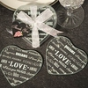 wedding party decoration & gift use heart shaped glass photo coaster