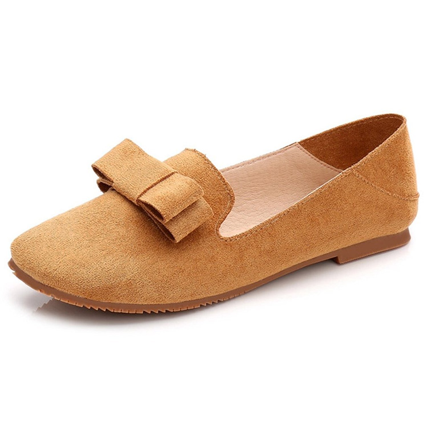 db341f11405 Get Quotations · Hoxekle Womens Bowknot Korean Version Low Heels Low Top Square  Toe Suede Slip On Loafer Shoes