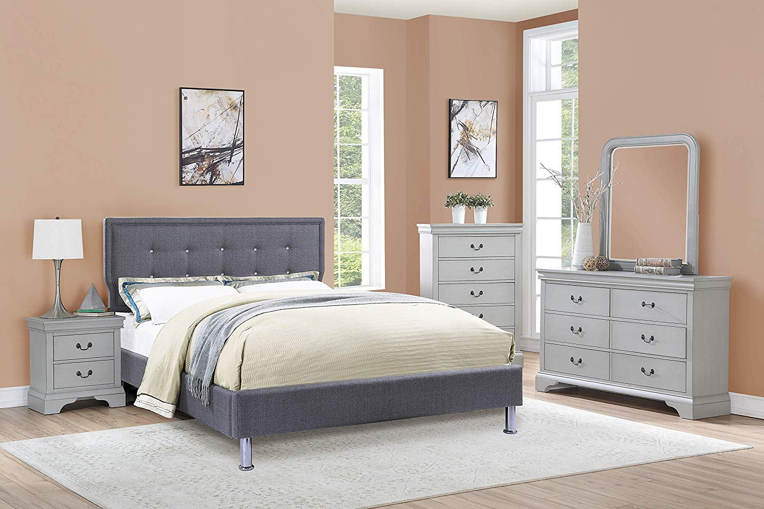 Blue Grey Color Elegant 4pc Set Bedroom Furniture Full Size Bed Dresser Mirror Nightstand Polyfiber Tufted HB