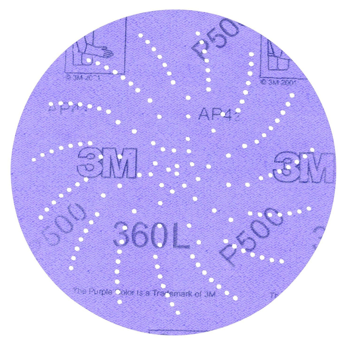 "3M Clean Sanding Disc 360L, Film, Hook and Loop, Aluminum Oxide, 5"" Diameter, P800 Grit (Pack of 100)"