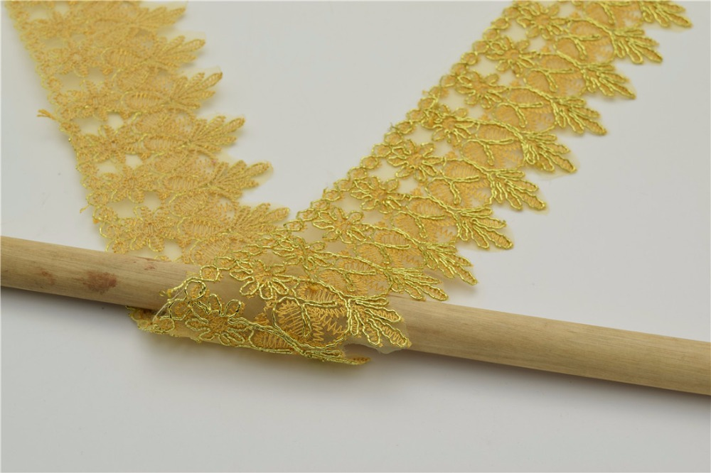 20yards Many color Metallic Rayon Embroidery Scalloped Lace Trim Metallic Bridal wedding Trim Wide:7cm