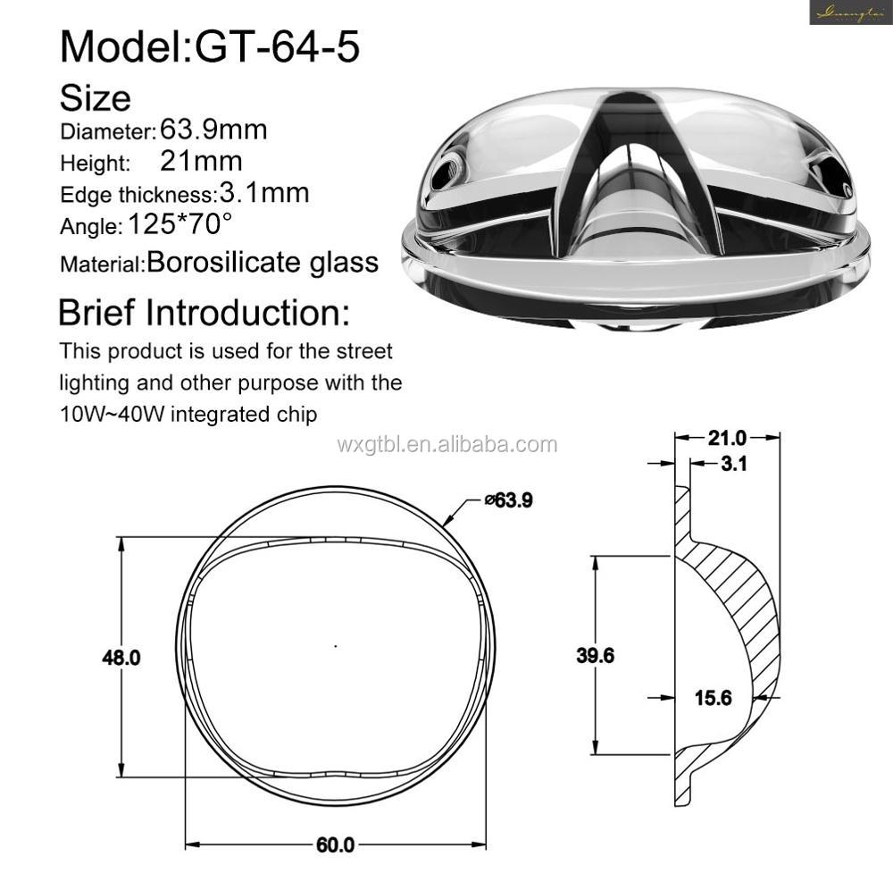 convex-concave led optical lens for 10W - 40w led street lights