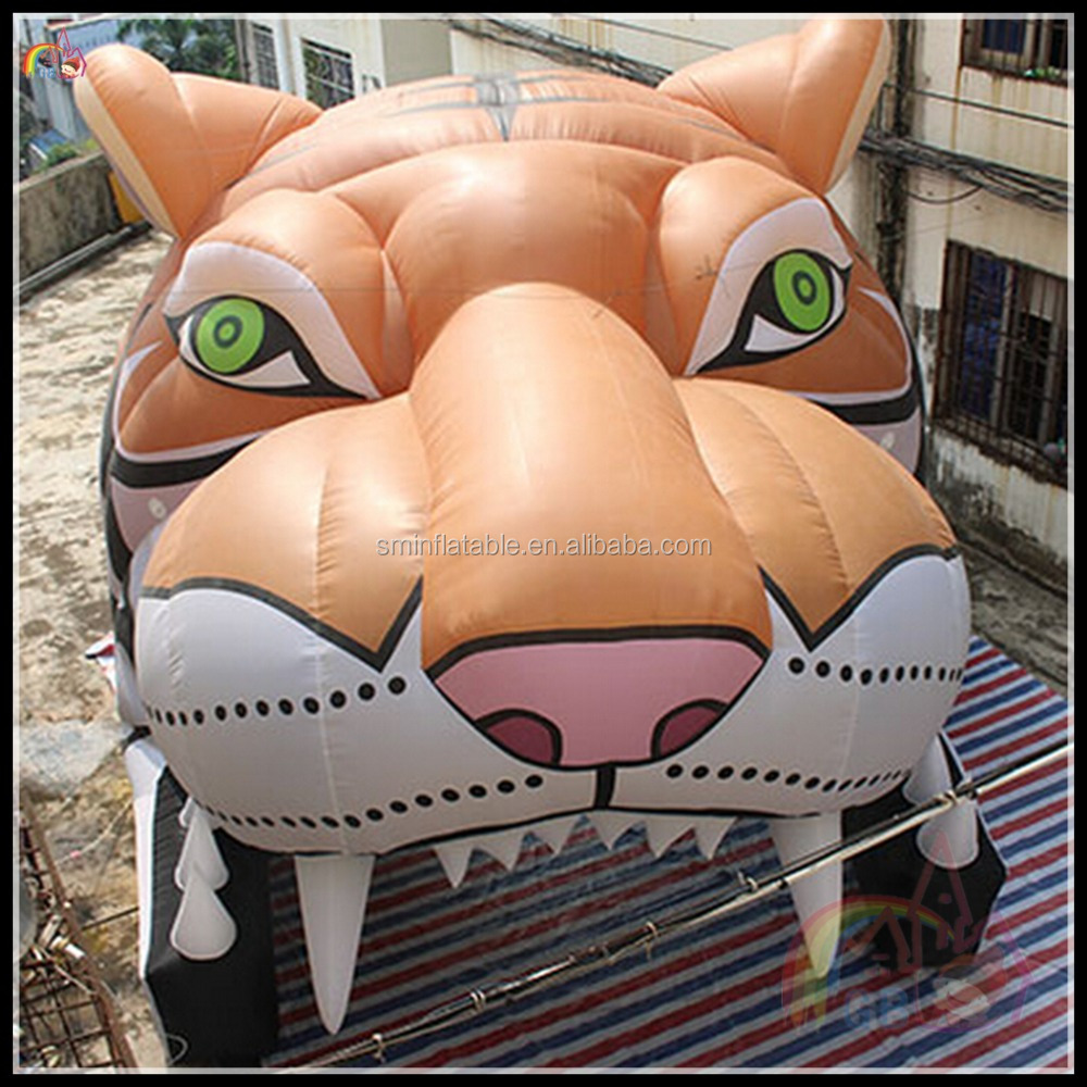 2017 New Design Inflatable Tiger Tunnel For Sprots Entrance Tiger Head Tent On Sale