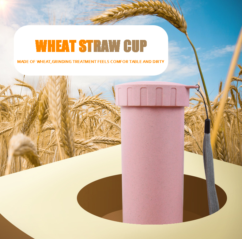 BPA free Biodegradable plastic Wheat straw cup customized logo printing