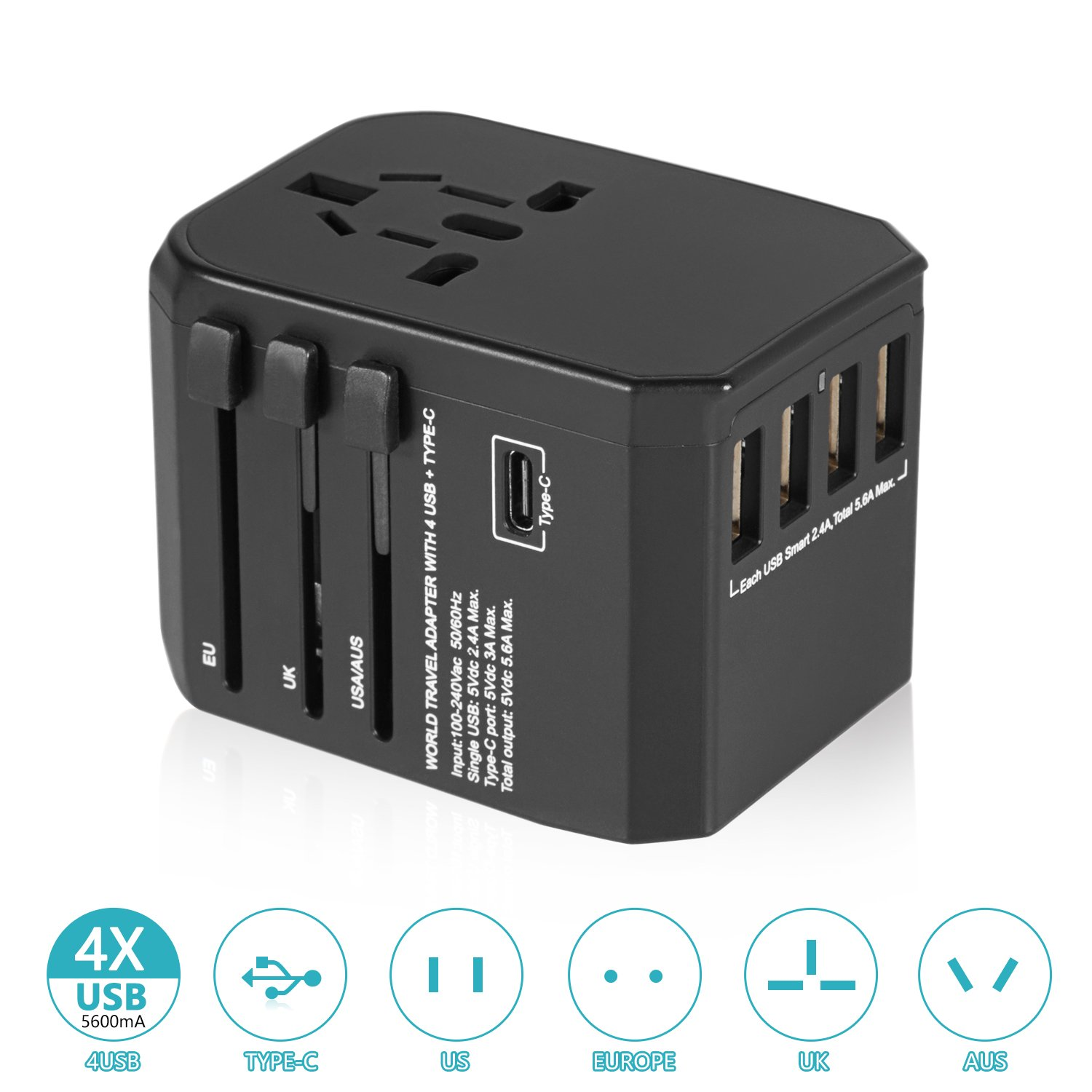 Worldwide Travel Charger, Travel Adapter Charger All in One International Travel Power Adapter Universal Travel Adapter with 5.6A 4 USB and 3.0A Type-C for Phone Laptop in EU/UK/US 150 Countries