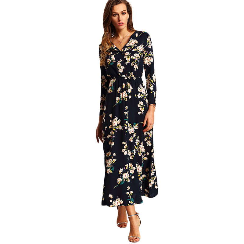 women clothes OEM supply navy digital print maxi long sleeved good fastness african dress patterns