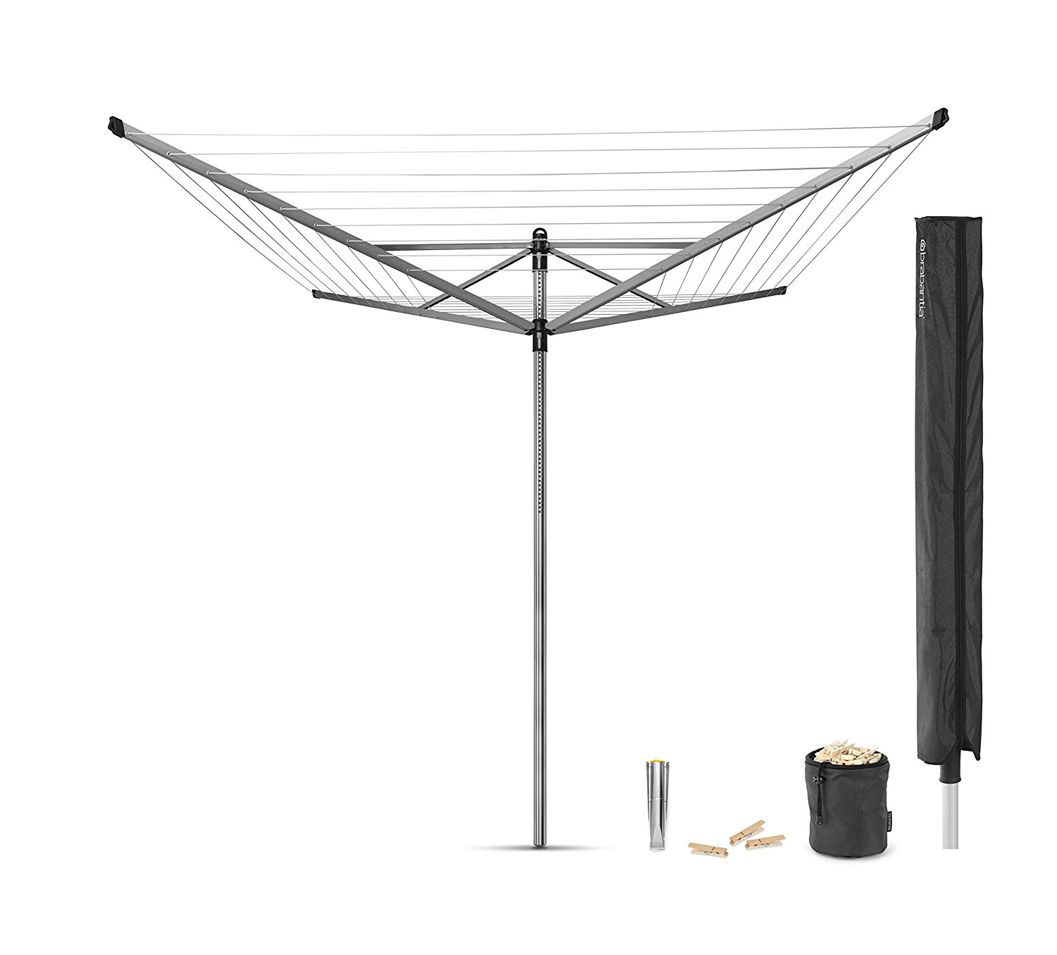 Brabantia Lift-O-Matic Rotary Airer with Accessories, 50 m - Silver by Brabantia