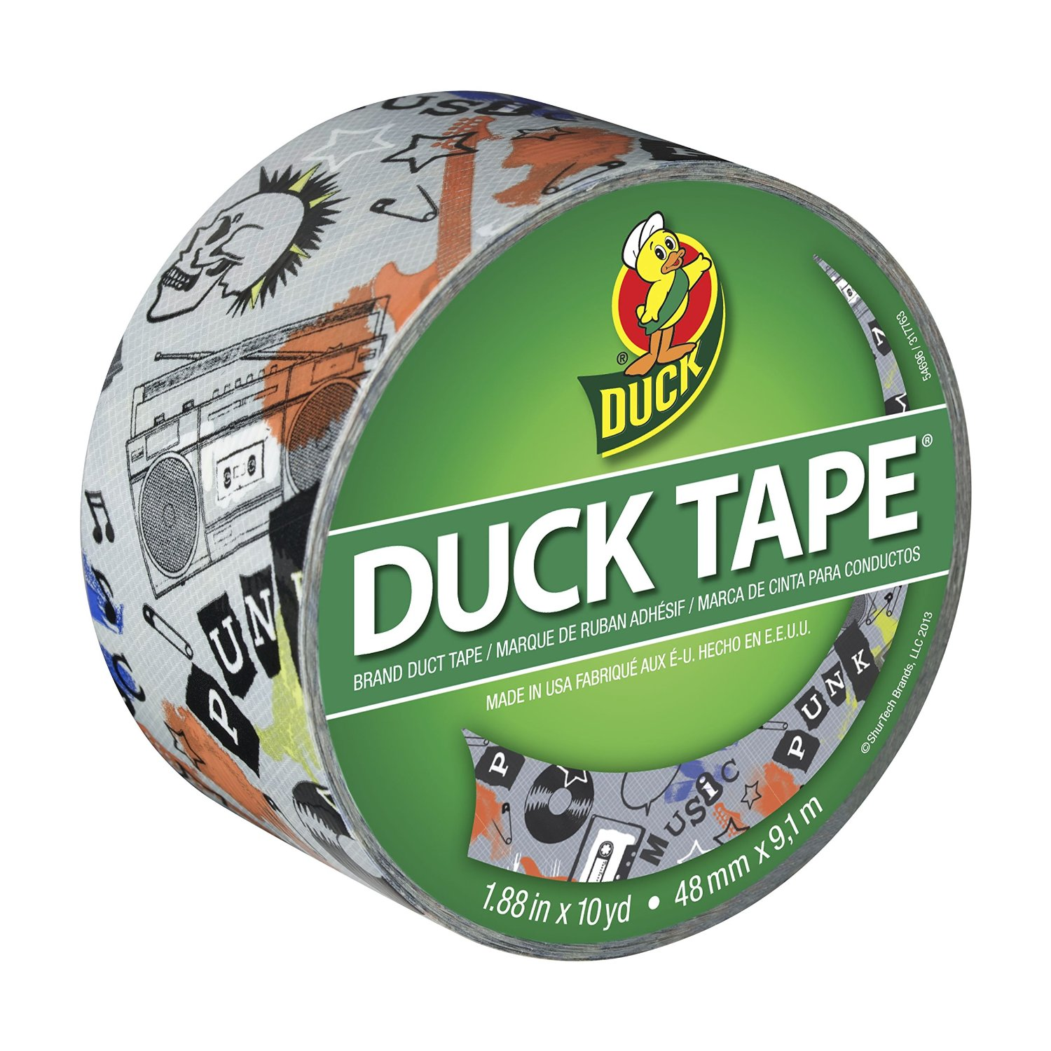 Duck Brand 282497 Printed Duct Tape, Punk Music, 1.88 Inches x 10 Yards, Single Roll