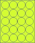 """2"""" Round Fluorescent Chartreuse Labels for Laser Printers, Inkjet Printers or Copier Machines. (GLC200FCH)"""