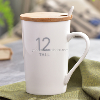 6067358066d Modern ceramic white color coffee water mug with wooden lid porcelain 360  ml digital milk tea