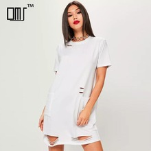 Grunge <span class=keywords><strong>punk</strong></span> chic abbigliamento per la ragazza used look bianco in bianco t shirt <span class=keywords><strong>dress</strong></span>