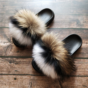 2020 Fashion New Design Fluffy Fur Slippers Slides Women Real Fox/ Raccoon Fur Slides