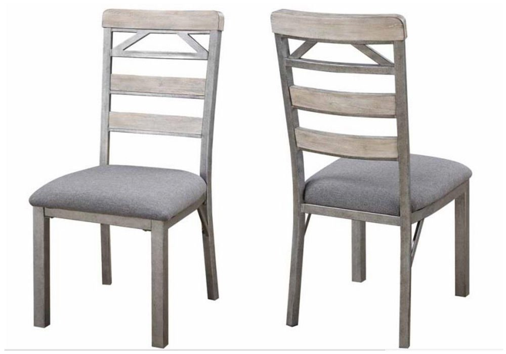 1PerfectChoice Melbourne Set of 2 Dining Side Chairs Antique Elm Wood Grey Fabric Cushion Seat