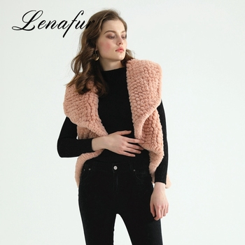 Cheap Price Lady Knitted Fake Rabbit Crochet Knit Fur Vest