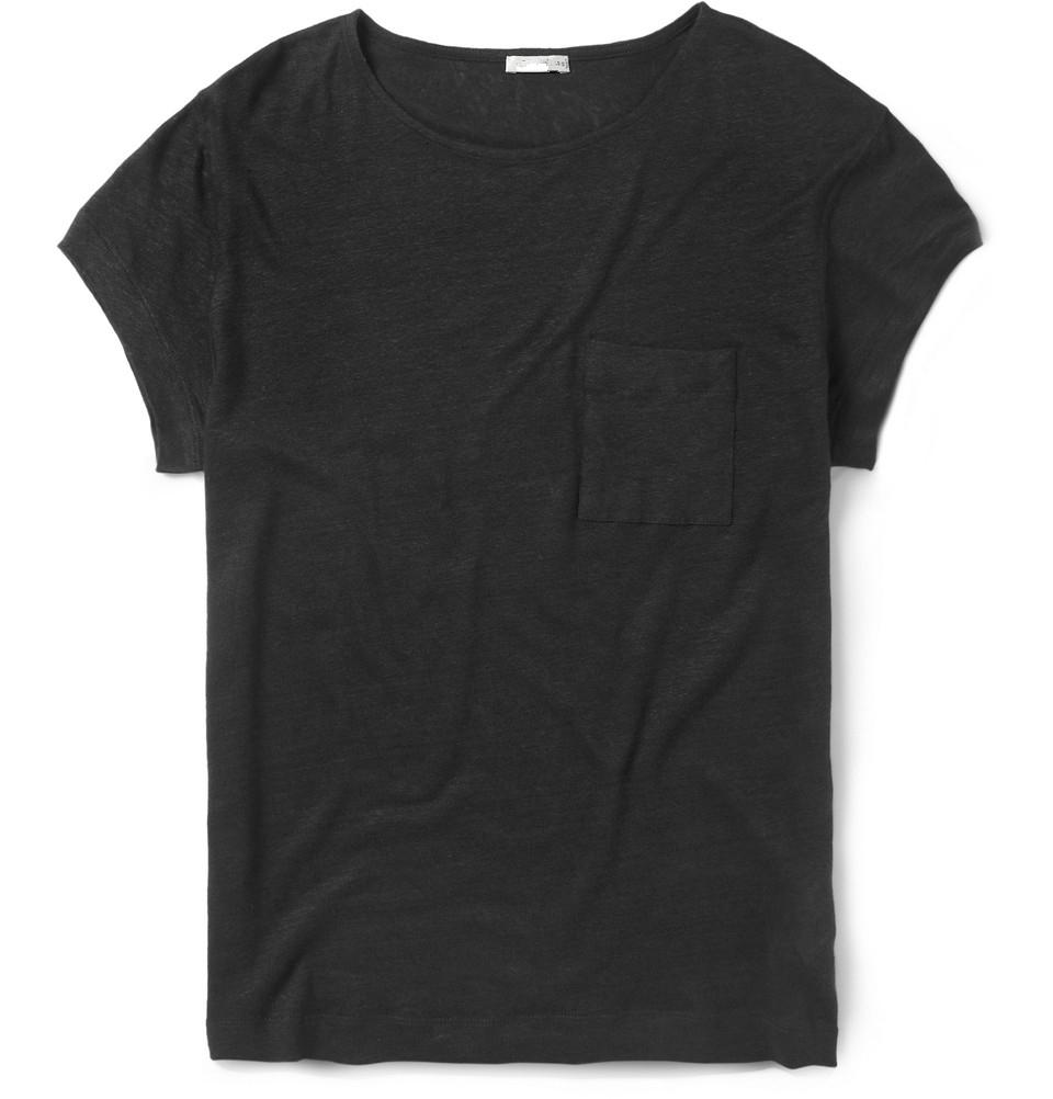 Black Plain Organic Cotton T-shirt Wide Neck Men
