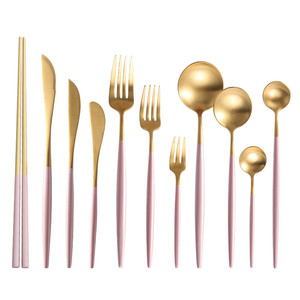 Luxury Pink Gold Silver Royal Silverware 304 Stainless Steel Flatware Cutlery Set