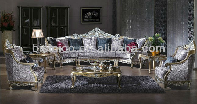 Elegant Middle East Style Fabric Sofa Wooden Carved Living Room Furniture Comfortable Sectional Set