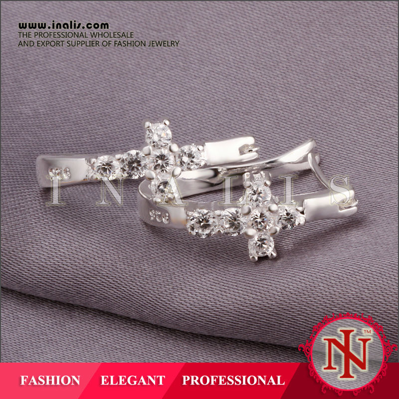 Elegant cross U shaped silver earrings with cubic zirconia E311
