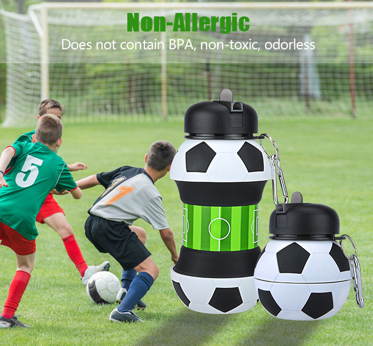 19Oz BPA Free Silicone Soccer Shape Collapsible Water Bottle for Gym