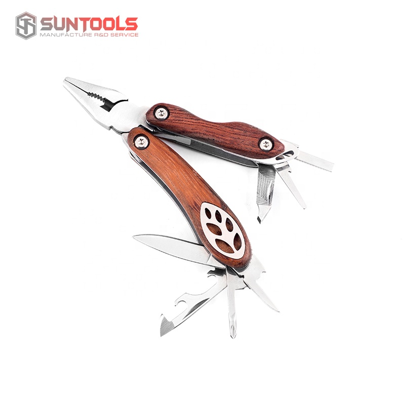 2019 New arrival leaf shape design handle mini foldable multi plier tools with wooden handle