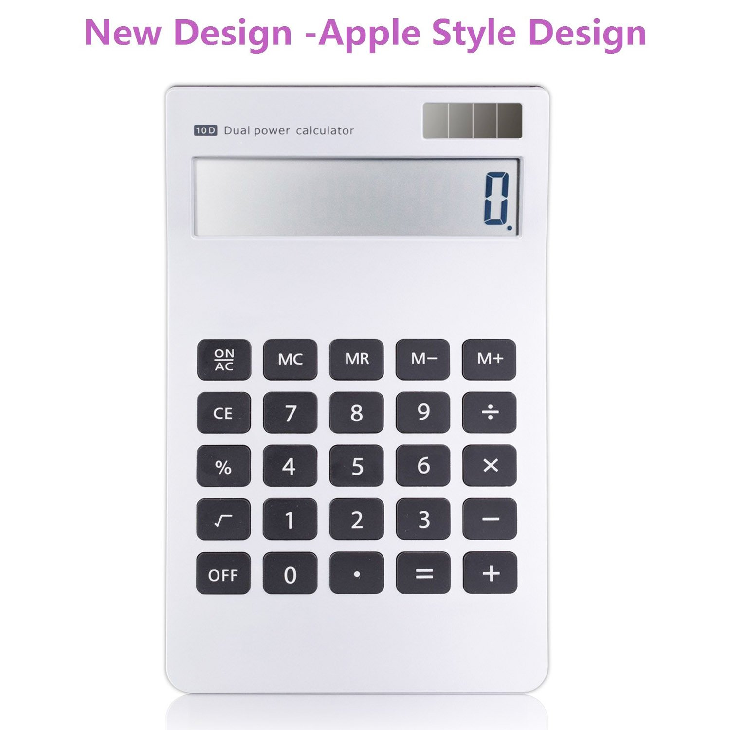 Calculator, 10 Digit Apple Style Design Calculator Dual Power Calculator Solar Battery LCD Display Office Calculator(Silver)