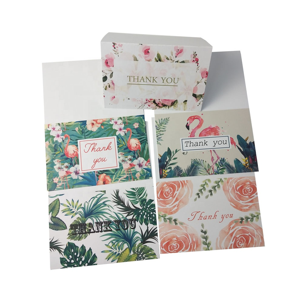 Amazon online hot selling custom thank you cards pack with paper envelope