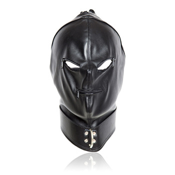 Leather black bondage hood mask head harness with mouth zipper and eyes holes for restraint or slave cosplay