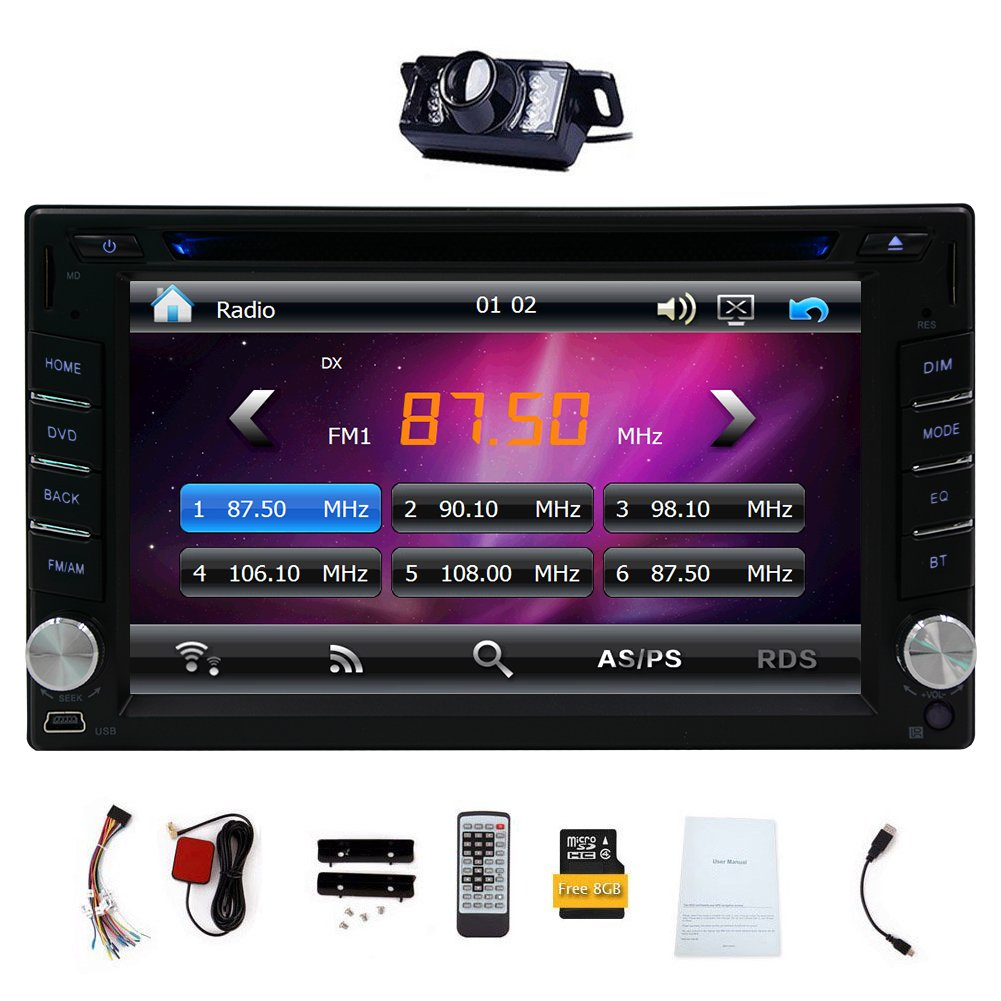 """6.2"""" Double DIN Car DVD CD Video Player Bluetooth In"""