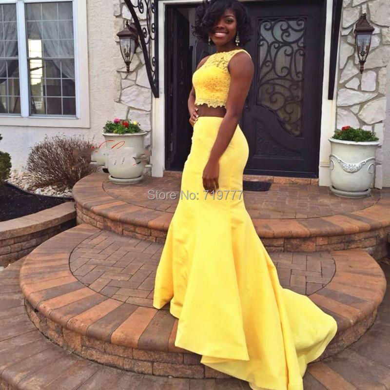 yellow 2 piece mermaid african prom dress sexy lace and satin elegant plus size evening dresses. Black Bedroom Furniture Sets. Home Design Ideas