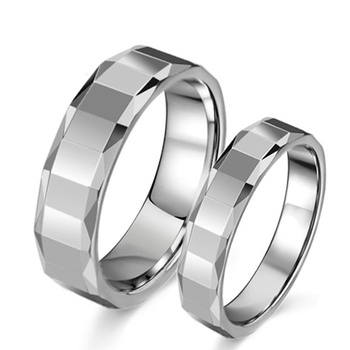 Male Female Wedding Bands Couple Ring Faceted Tungsten Steel Rings