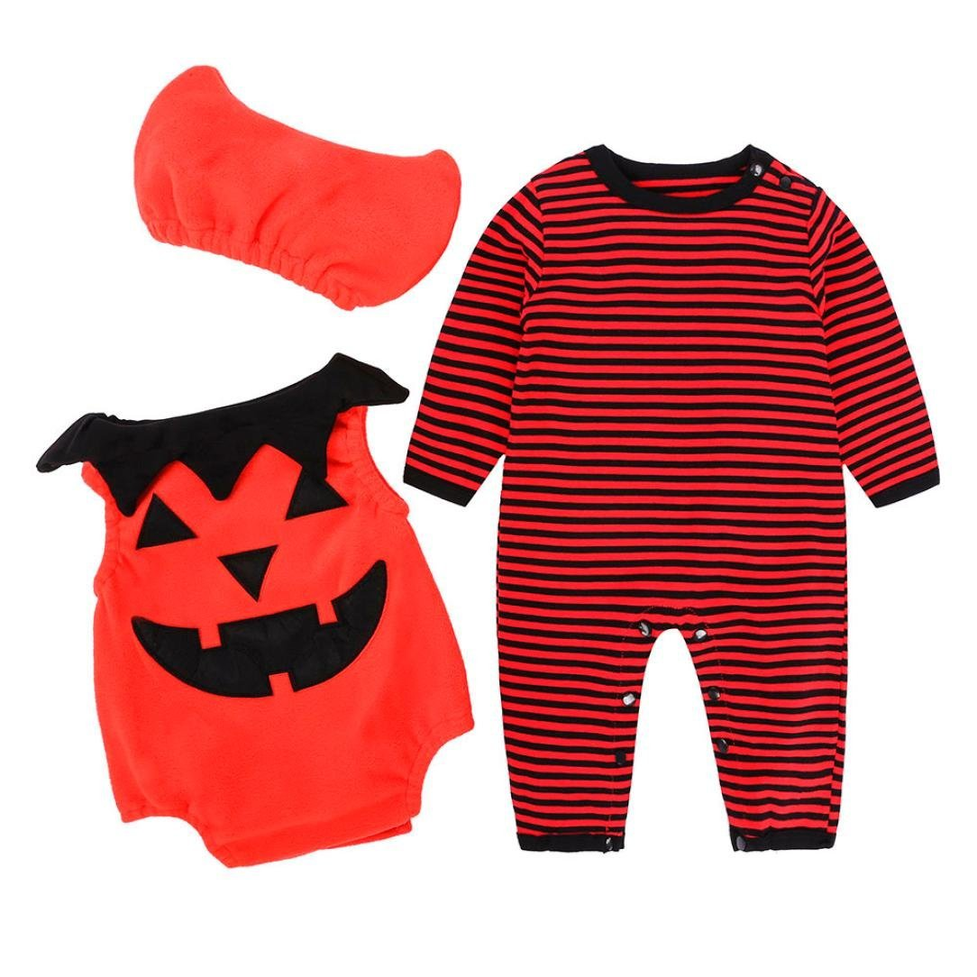 Halloween Baby Girls/Boys Clothes, Leewa@ 3PCS Newborn Infant Pumpkin Romper Costume Outfits