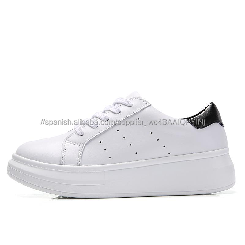 Moda deporte zapatos para caminar zapatillas de cuero blanco para las  mujeres 059947609ef7