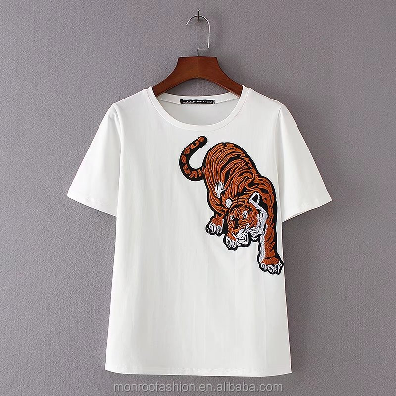 monroo 2017 New Fashion Women's Short Sleeve Tiger Embroidery Patch T-shirt Leasure Summer Tees Causal Slim T shirt T012
