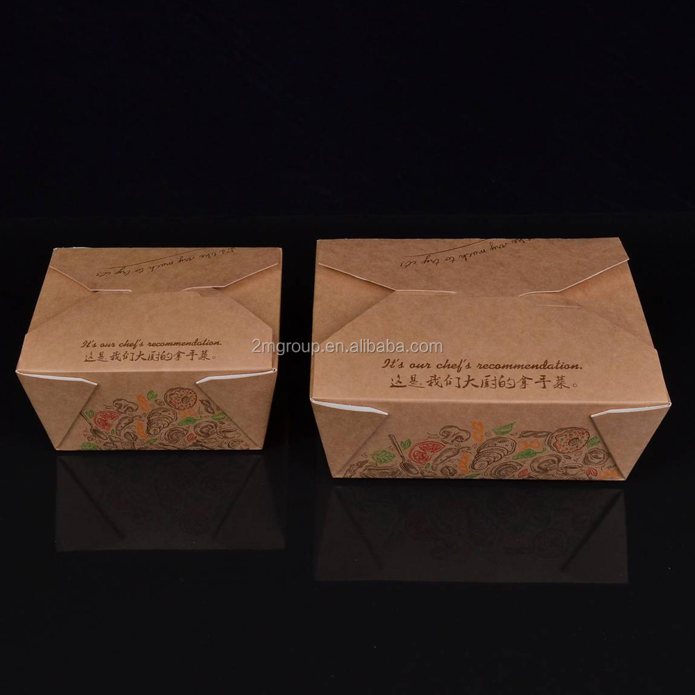 Disposable custom printed kraft lunch food paper box/ recycled kraft paper box