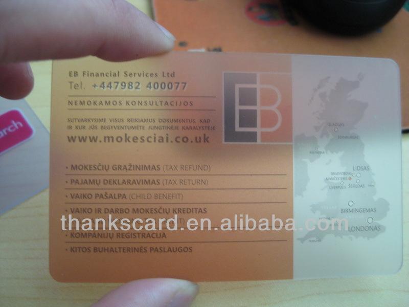 Meilleur Materiel DE PVC Carte De Visite Transparente En