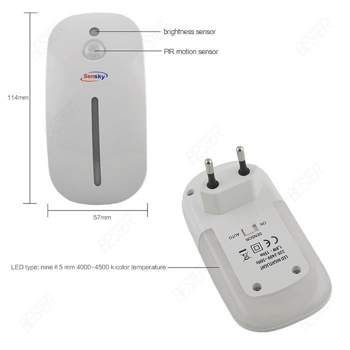 Plug In Small Auto Motion And Light Sensor Led Night Light