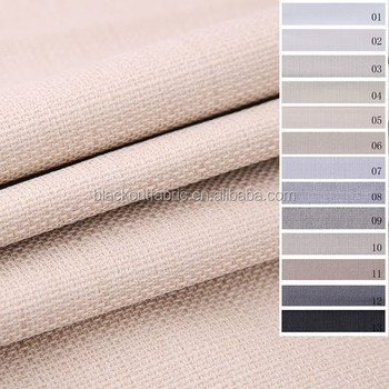 3 Pass Linen look Blackout Fabric for Drapery and Curtain