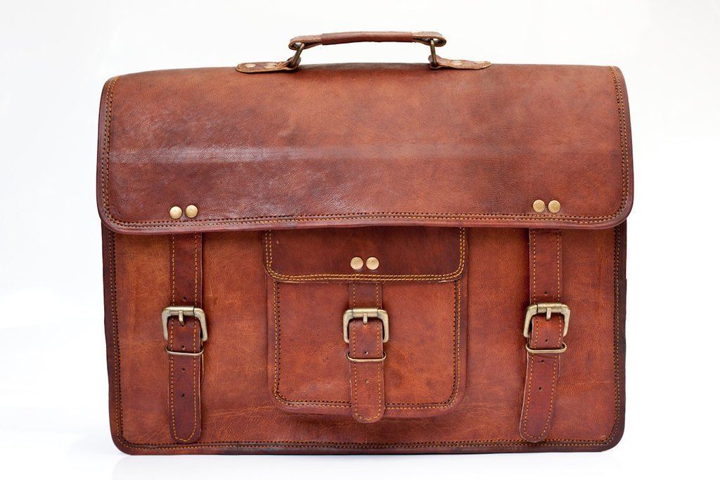"Handolederco 15"" Vintage Leather Briefcase Messenger Satchel Leather Laptop Bag"