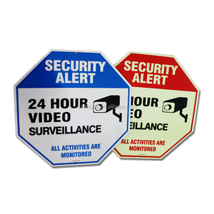 W195A Video Surveillance Sign Security Alert No Trespassing Sign Legend - Large 12 X 12 Octagon Sign Made In China