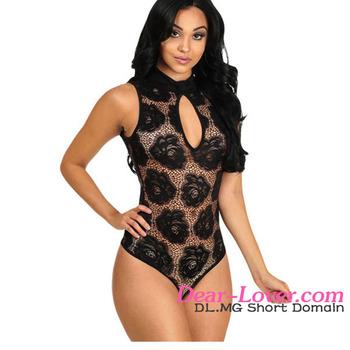 690794dc0a Black Floral Lace Sleeveless Bodysuit hot hot sexi photo image lace lingerie