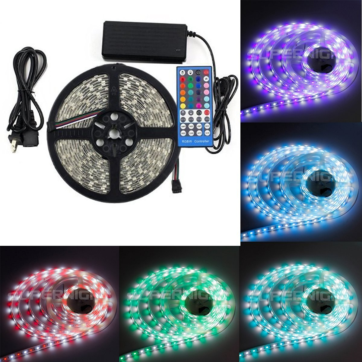 Eastchina®| Smd 5050 Waterproof Full Kit Rgbw Flexible Novelty LED Light Strip, 16.4ft 5m RGB + Cool White Mixed Color Changing Flexible Rgbw LED Strip Lights with 300 Leds, with 40-key Rgbw LED Strip Remote & 12v 5a Adapter