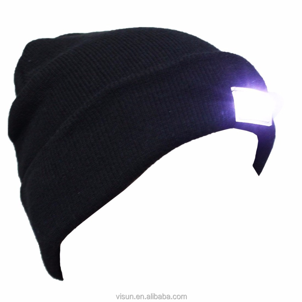 LED Lighted Fishing Hiking Running Cycling Knit Baggy Beanie Hat Cap