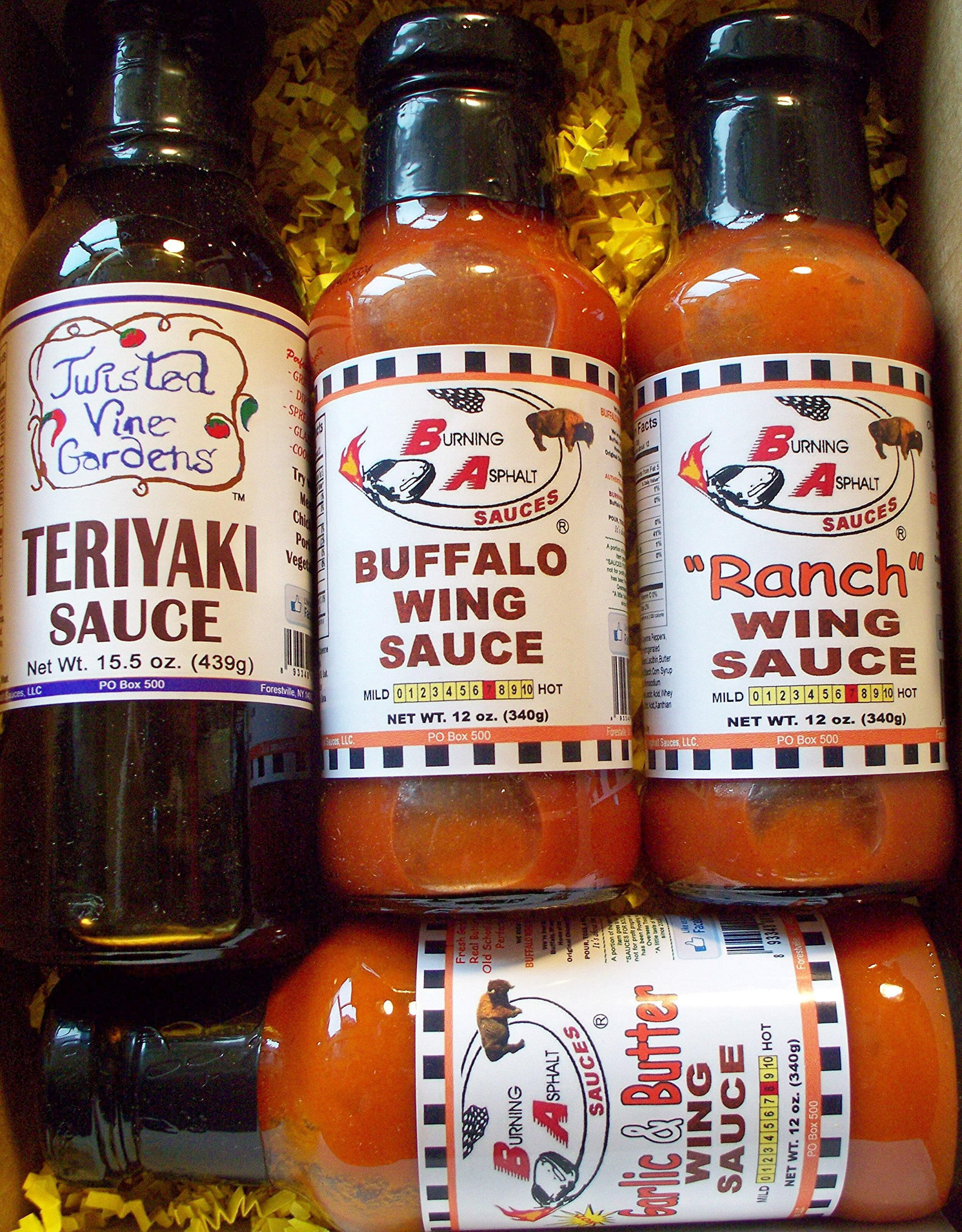 Buffalo Wing Sauce 4-Pack Gift Set/Box - From Buffalo, NY - BA Sauces