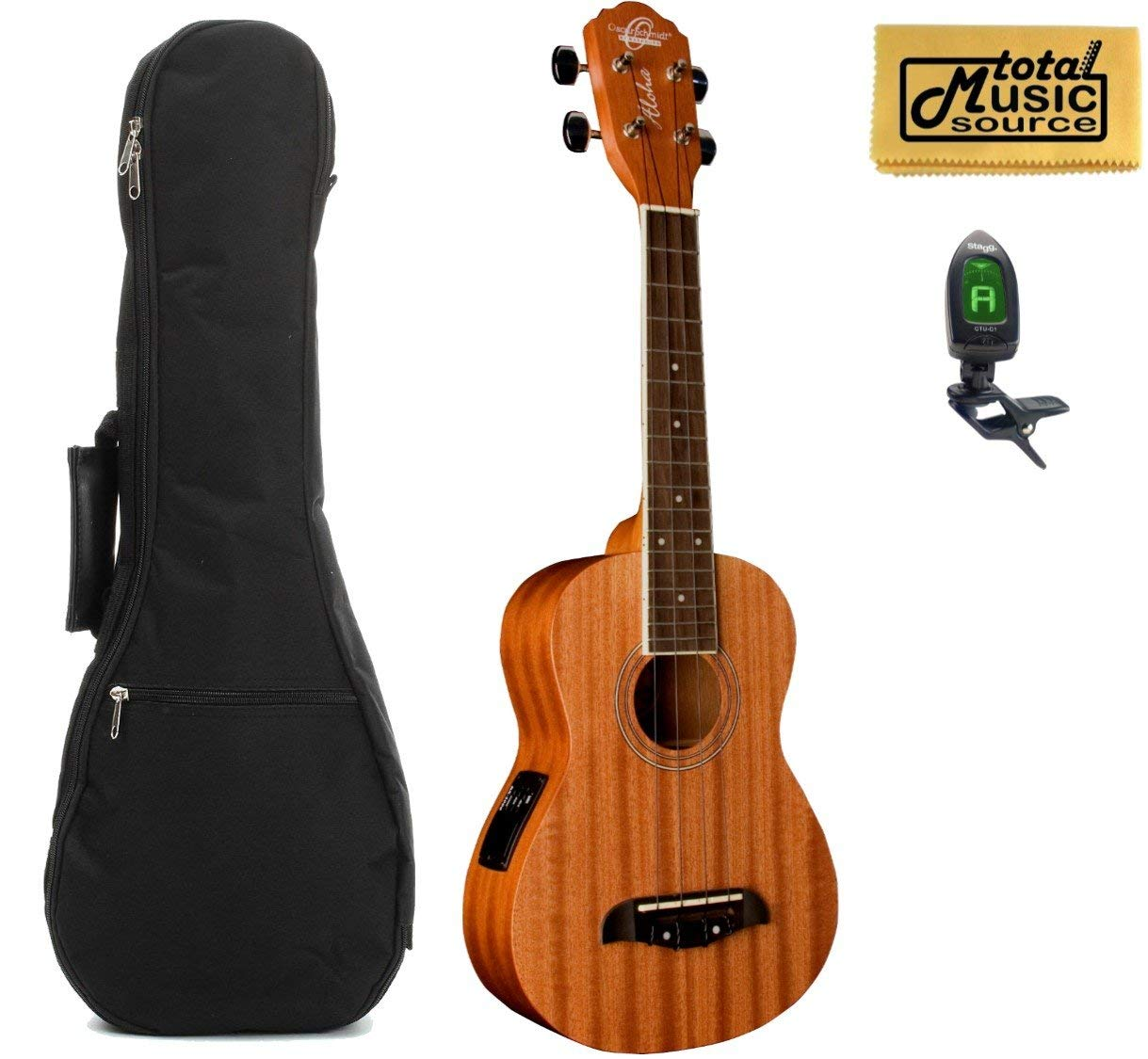 Oscar Schmidt Concert Active EQ, Acoustic Electric Ukulele, OU2E w/Padded Gigbag,Tuner & PC