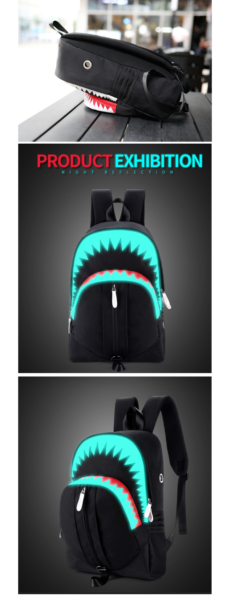 Osgoodway2 Big Mouth Shark Outdoor Safety Magic Luminous USB Charger School Backpack Bag