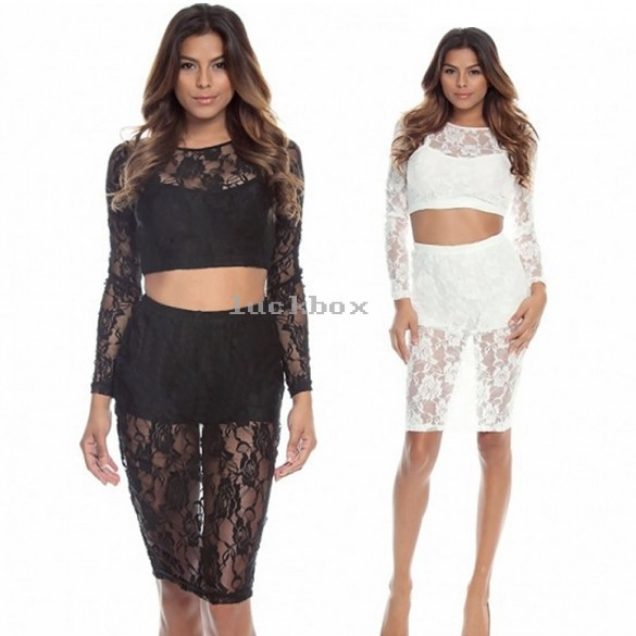2015 Women Casual Vestidos White Black Bandage Bodycon Dress Party Prom 2 Pieces Outfit Women Sexy Night Club Lace 35