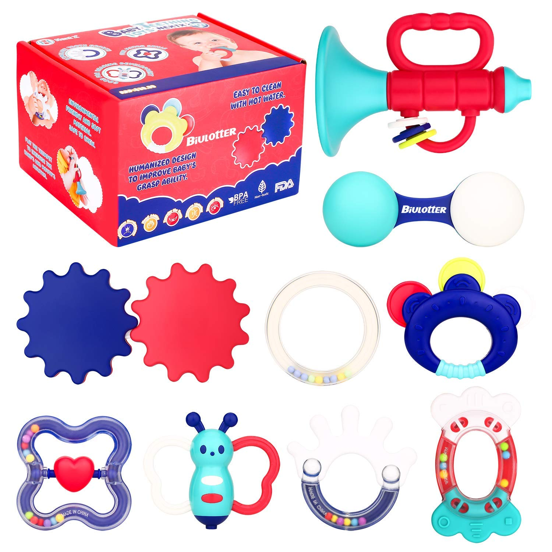Biulotter 9 Pack Baby Teething Toys Infant Training Toy Case