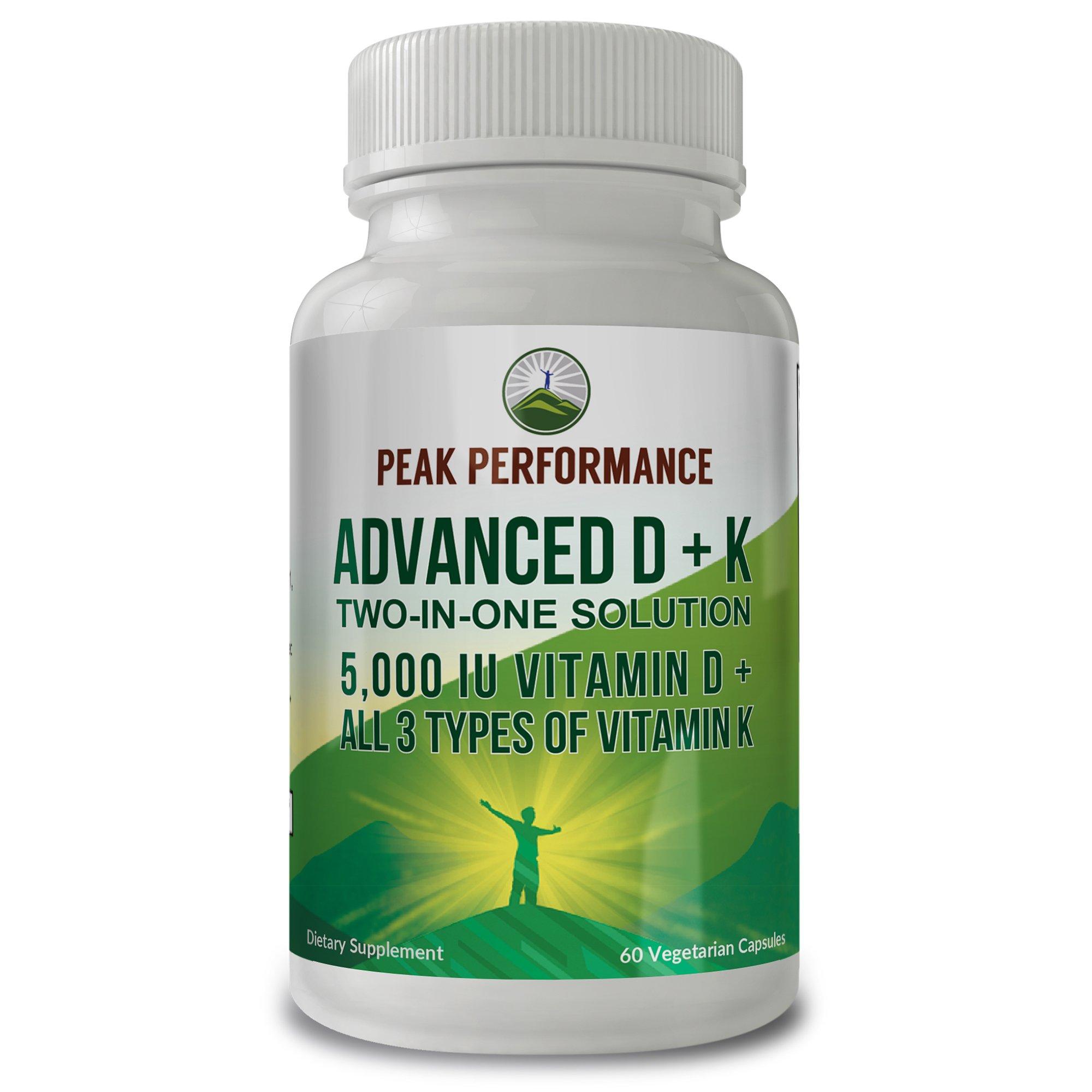 ADVANCED Vitamin D 5000 IU + ALL 3 Types Of Vitamin K By Peak Performance. Vitamin D3 and Vitamin K2 MK-7 (MK7) K2 MK4 K1 Supplement! 60 Small & Easy to Swallow Vegetable Capsules / Pills (5000 IU)