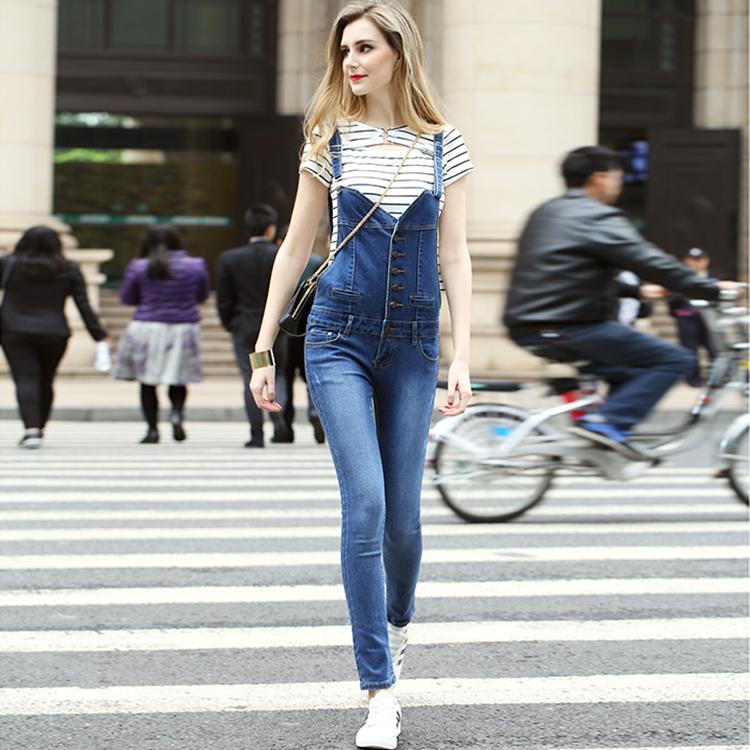 3580e0c1a8f Women Long Overall Jeans Jumpsuit Denim