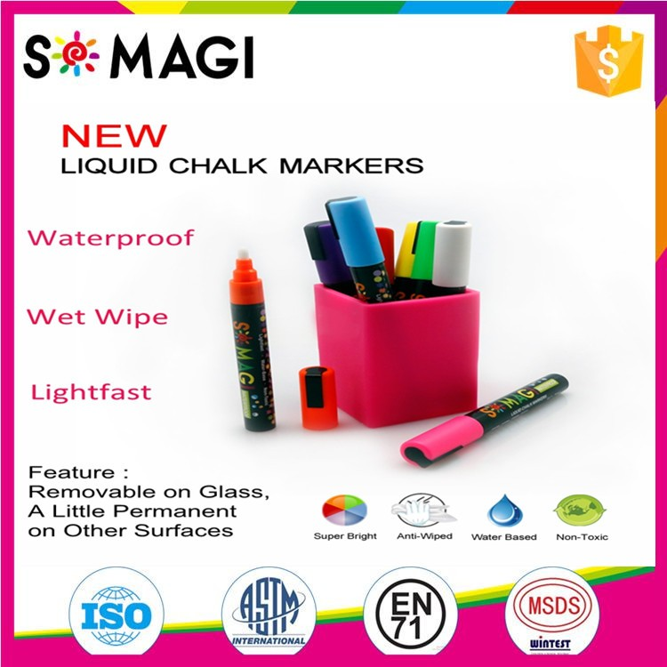 8 Pack Fluorescent Color And Anti-wipe Marker Pen with Reversible 6mm Tip for Glass, Window & LED Art Menu Writing Board